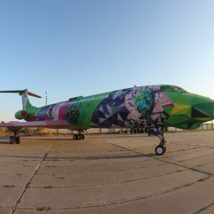 myForestBridge — Murals  TU-134 Plane  Aircraft Graffiti  Kiev, Ukraine   — myForestBridge 2016